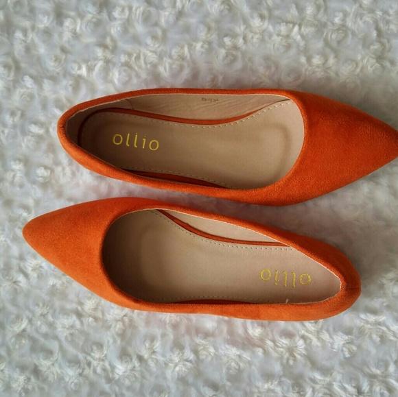 Ollio Womens Orange Faux Suede Ballet